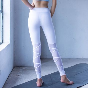 Mesh Patchwork Cross Leggings Women Thick Solid Fitness Leggings High Stretchy White Sportwear