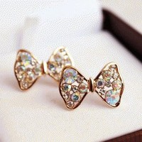 Glittering Bow Tie Fashion Earrings  | LilyFair Jewelry