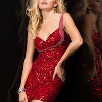 Scala 48358 - Red Open Back Sequin Short Homecoming Dresses Online