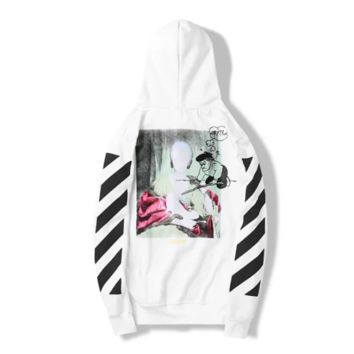 Off White New fashion letter stripe painting print couple hooded long sleeve sweater White