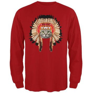 LMFCY8 Thanksgiving Funny Cat Native American Red Adult Long Sleeve T-Shirt
