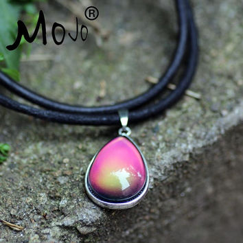Mojo Vintage New Fashion Sterling Silver Plated Water Drop Mood Color Change Pendant Leather Chain Necklace For Women MJ-SNK010