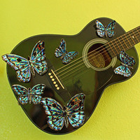 Butterfly guitar - playable wall art with aluminum butterfly sculptures - by Mark