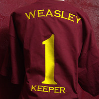 Harry Potter Quidditch House Team Shirt Inspired, Uni-Sex Adult T-Shirt, Gryffindor inspired, Numbers 1,2,3,5, Weasley's