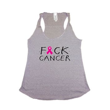 Women's F Cancer Breast Cancer Awareness Tri Blend Tank LILAC