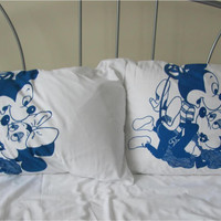 Mickey Mouse Sex-Pillowcases- Set 2- Mickey & Minnie- cotton pillowslips-ADULT- Screenprinted-New