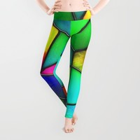 colorful stained glass Leggings by Haroulita