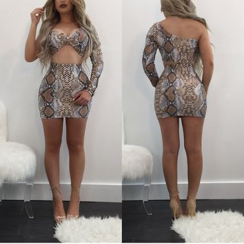 Brown Snake Skin Floral Asymmetric Shoulder Irregular 2-in-1 Club Mini Dress