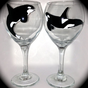 Orca - Killer Whale - Wine Glasses - Hand-painted - set of 2