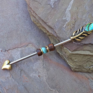 Peacock Feather Industrial Barbell Scaffold Piercing