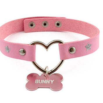 Pink bunny pet play collar - faux leather collar with custom engraved bone shaped pendant charm for DDLG or pet play