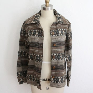 Vintage 70s Wool Woven Tribal Print Jacket // Women's Fall Button Up
