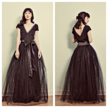 Black Floor Length Maxi Tulle and Cotton Jersey Dress by ouma