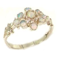 Unusual Solid Sterling Silver Natural Fiery Opal Ring with English Hallmarks - Finger Sizes 5 to 12 Available