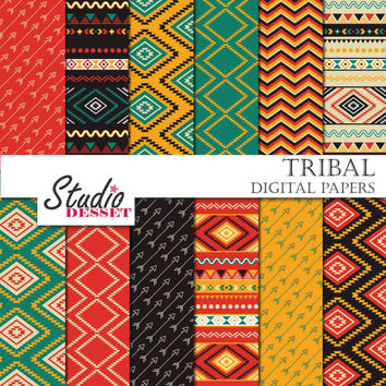 Tribal Digital Paper, Ethnic Patterns, Aztec Arrows Papers, Geometric triangles in red and blue, Backgrounds for Websites, Blog, Cards A262