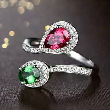Peacock Red Tourmaline Green Tsavorite Diamond Ring in 18k White Gold Engagement Wedding Birthday Anniversary Valentine's