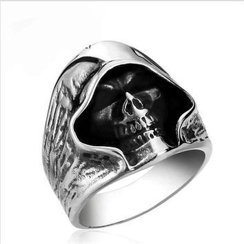ac DCCKO2Q fashion Men Tough guy punk style Retro grim Reaper skull rings high quality 316L Biker free delivery