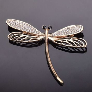 USTAR Crystals dragonfly brooches for women pins gold color rhinestone lapel pin scarf brooch broche christmas gifts top quality