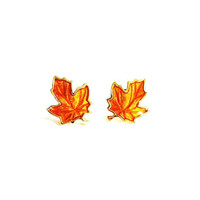 Vintage Dainty Fall Maple Leaf Earrings Rust Orange Gold Posts