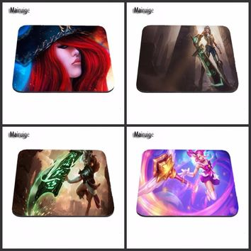 Miss Fortune With Red Hair And A Hat League Of Legends Mouse Pad Computer Gaming Mouse Pad Gamer Play Mats
