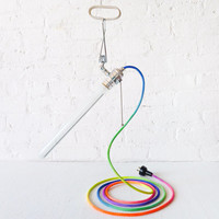 The Saber Rainbow - Industrial Lighting - Ombre Dyed Color Cord - Clip Clamp Light Lamp