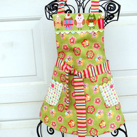 Little Girl's Apron Reversible Kids Cooking Apron with Owls and Cupcakes Spring Floral Apron