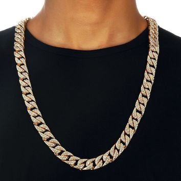 Miami Curb Cuban Chain Necklace For Men Gold Silver Hip Hop Iced Out Paved  Rhinestones CZ 8c81343392