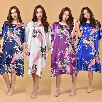 DCCKL3Z B1687 Hot Sale 14 Colors Summer Chinese Women's Nightgown Silk Rayon Bath Robe Dress Kimono Gown Flower Sleepwear Plus Size