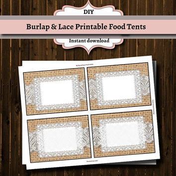Printable Buffet Food labels- Burlap and Lace- Instant Download-DIY-Stickers-Tags-Wedding-Shower- Shabby Chic- Country-Rustic-Table favor