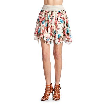 Women's Printed Floral Skirt with Elastic Lace Waistband