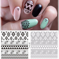 1 Sheet Beauty Nails Black Tribal Nail Art Water Decals Floral Transfer Stickers