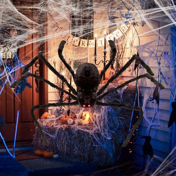 125CM Halloween LED Sound Control Creepy Plush Spider Giant Spider  Halloween Party Events Supplies