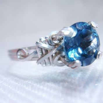 London Blue Topaz Sterling Silver Ring by PassionateJewelry