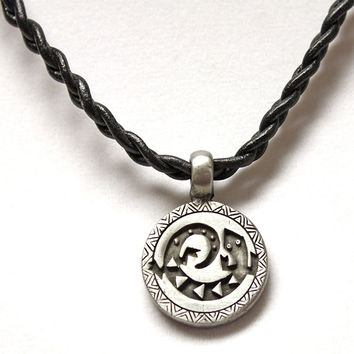 Southwest Lizard Pendant Braided Leather Necklace