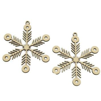Snow Crystal Laser Cut Ornaments, 4-Inch, 2-Piece