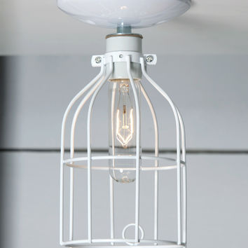 White Cage Light - Ceiling Mount - Industrial Lighting