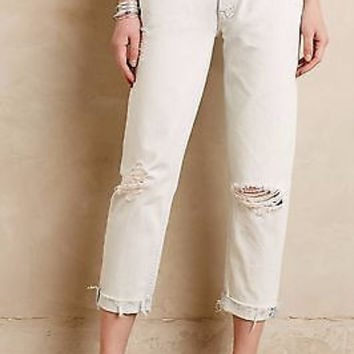 Anthropologie $196 Mother Dropout Fray Get Blondie Destroyed Jeans NWT