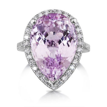 Pear Shape Kunzite Ring 18k White Gold Genuine Rare Kunzite Gem 15.34ct Purple Pink AAAAA+ Quality & Diamonds Halo Engagement Dinner Ring