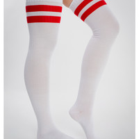 White & Red Athletic Stripe Over the Knee Socks