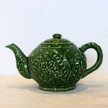 vintage tiffany and co. teapot // tea pot // floral trellis pattern in deep green // lily of the valley