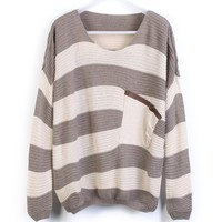 Thick striped shirt bat loose pullover knitted fake pocket BABHDC