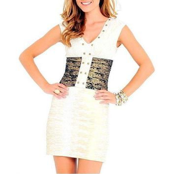 Women's Edgy White & Gold Embellished Bandage Dress