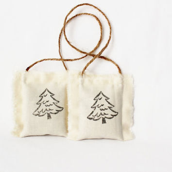 Pine Tree Christmas Ornaments, Woodland Holiday Ornaments, Natural Balsam Scent