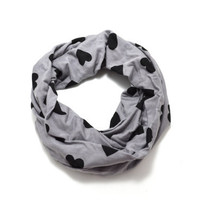 Gray and Black Heart Jersey Knit Infinity Scarf