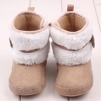 Fashion Baby Girls Winter Warm Snow Boots Newborn Infant Toddler Soft Prewalker Crib Warm Shoes First Walker