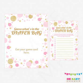 Pink and Gold Baby Shower Games, Guess What's in the Diaper Bag Game, Baby Shower Printables, Pink Gold Confetti, Instant Download CB0003-PG