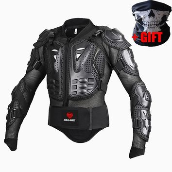 SULAITE Profesional Motorcycle jacket turtle motocross Full Body Armor protection Spine Chest motocross protective Gear clothes