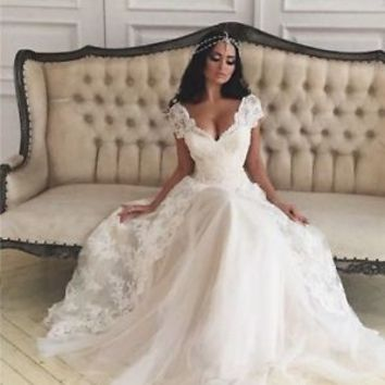 Cap Sleeves Princess Wedding Dress with Lace Overlay Skirt