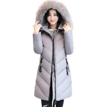 Women Jacket Plus Size 5XL 6XL Winter Hooded Long Padded Coat Fashion Big Faux Fur Collar Overcoat Basic Warm Cotton Coat PW1043