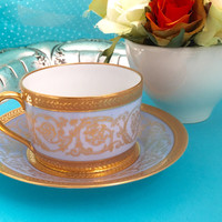 Vintage Tea Cup, Edith Pascale CH Field Haviland Limoges Incrustation Coffee/Teacup and Saucer Double Dorure